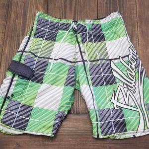 Billabong Boardshorts Green Plaid Size 32